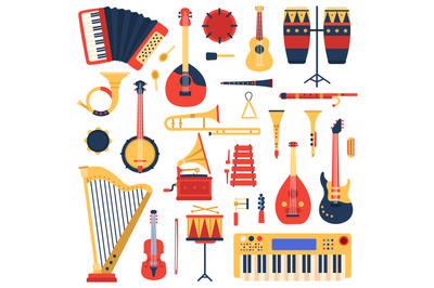 Musical instruments. Cartoon doodle music guitar, drums, piano synthes