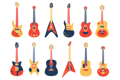 Musical guitar. Acoustic, electric rock and jazz guitars, retro string