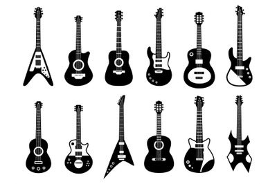 Guitars silhouette. Black electric and acoustic music instrument, rock