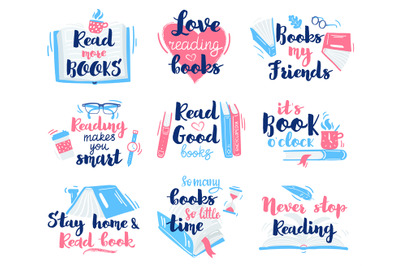 Books lettering quotes. Reading hand drawn lettering, motivation libra