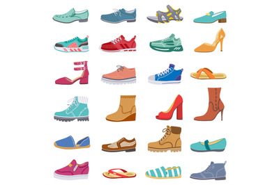 Footwear collection. Male and female shoes, sneakers, flat and boots,