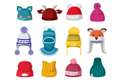 Knitted winter hats. Kids knit warm headwear, autumn and winter access