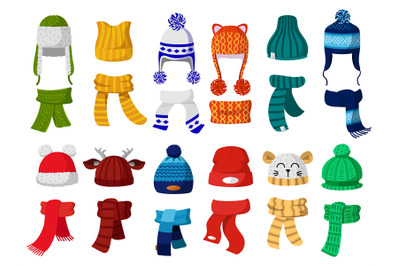 Winter hats. Kids knitting autumn headwear, hats and scarf, cold weath