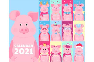 Funny pigs . Calendar for 2021