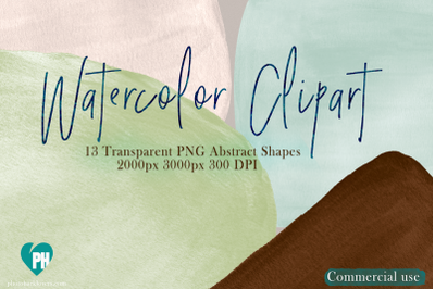 Watercolor abstract shapes clipart vol 03