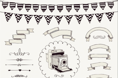 Black Sketched Rustic Vintage Banners, Ribbons, Frames and Icons.