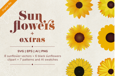 Sunflowers SVG bundle with 14 SVG, PDF, PNG