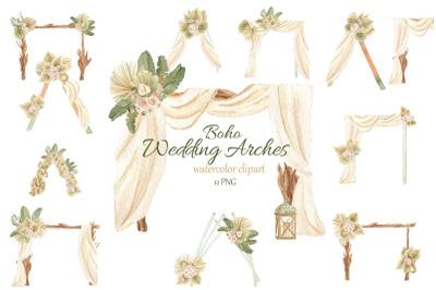 Watercolor Boho Wedding Arch Clipart