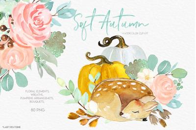 Soft Autumn. Baby Animals, deer & Pumpkins clipart
