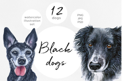 Black dogs. Watercolor set dog illustrations. Cute 12 dogs