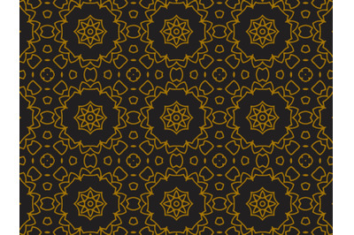 Pattern Gold Icon Star In  Flowers