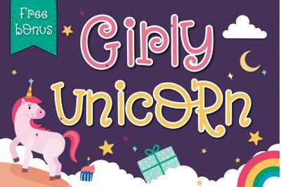 Girly Unicorn font Handwritten- cute kid font Kawaii style