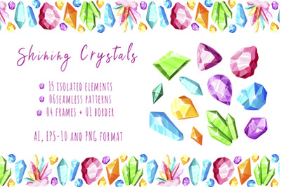 Shining Crystals - vector set