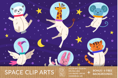Cosmos clipart. Animals astronauts. Digital prints, stickers