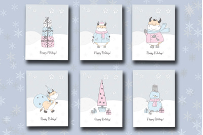 New Year's card of 2021. Cute ox