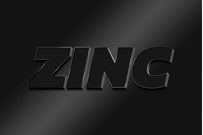 Zinc  3D Text Style Effect PSD