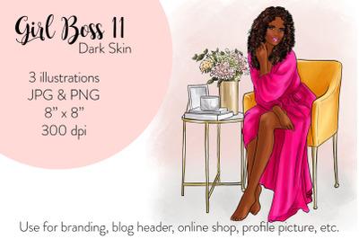 Watercolor FashionIllustration - Girl boss 11 - Dark Skin