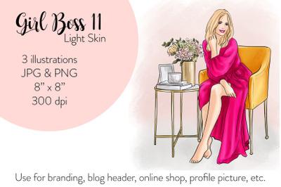 Watercolor FashionIllustration -Girl boss 11 - Light Skin