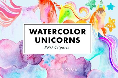 26 Watercolor Unicorn Illustrations