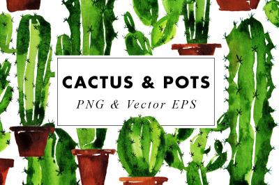 Watercolor Cactus Clip Art Set