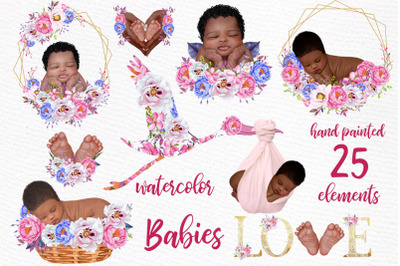 Newborn clipart Cute babies Infant clipart Stork with baby