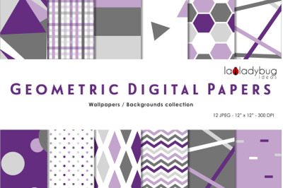 Purple and gray triangles digital papers. Geometric wallpapers.