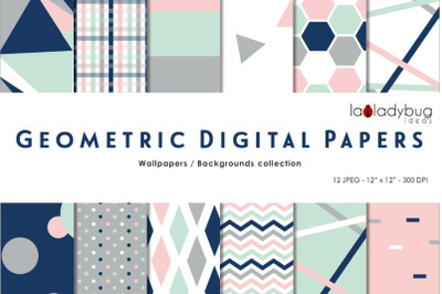 Multicolor triangles digital papers. Geometric wallpapers. Navy and bl