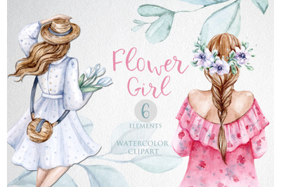Watercolor Flower Girls  clipart