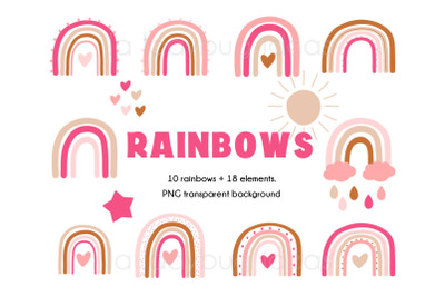 Rainbows clipart. Pink and creme rainbows clip art. 28 PNG