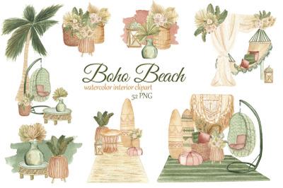 Boho Beach House Clipart. Watercolor boho interior clipart