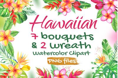 Watercolor Tropical Flowers Hawaiian Wedding Set
