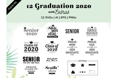 12 Graduation 2020 SVG, AI, EPS, PNG