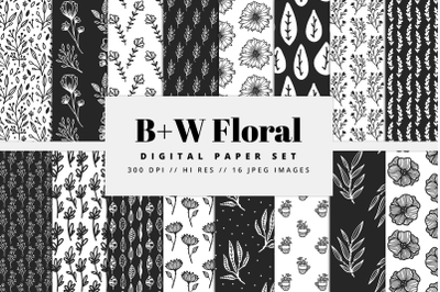 Black and White Floral Digital Paper
