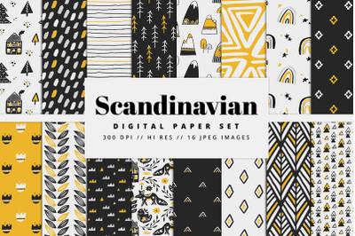 Scandinavian Yellow & Black Digital Paper Set