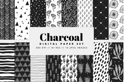 Charcoal Digital Paper Set