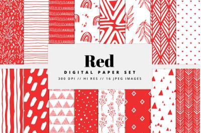 Red Digital Paper Set