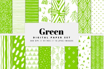 Green Digital Paper Set