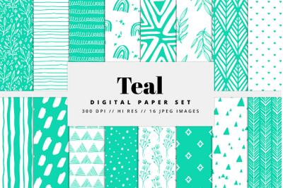 Teal Digital Paper Set