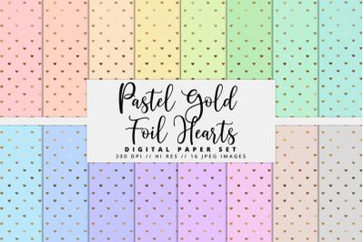 Pastel Gold Foil Hearts Digital Paper Set