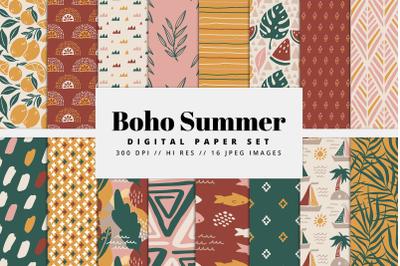 Boho Summer Digital Paper Set