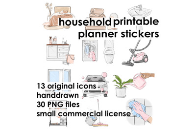 Household planner stickers Printable stickers Planner icons Housework