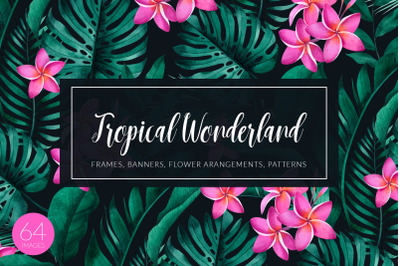 Tropical plants and flowers set
