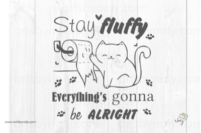 Funny cat in the bathroom quote SVG original illustration.