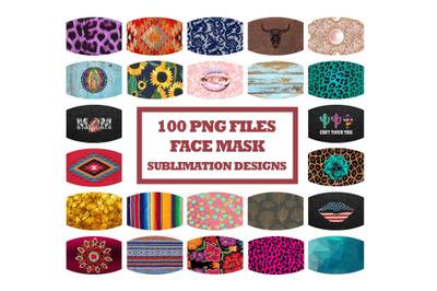 Face Mask Designs Bundle, Face Cover Sublimation PNG