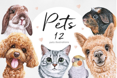 Watercolor set PET illustrations. Cute 12 pets.