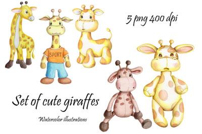 Set of cute giraffes. Hand drawn illustrations.