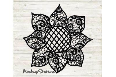 Sunflower Mandala SVG, Farm Lace Floral Decor DXF