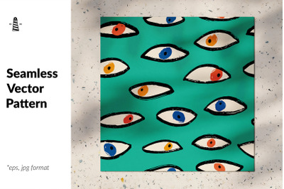 Doodle eyes seamless pattern