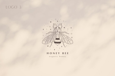 Premade Honey Bee Brand Logo Design for Blog or Small Business.