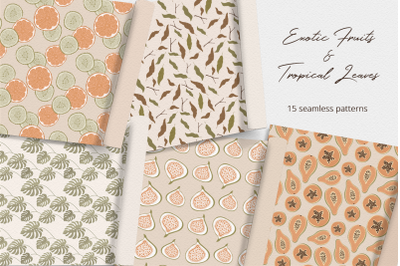 Exotic Fruits & Tropical Leaves Seamless Patterns